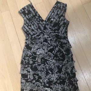 Cocktail Dress black and white V neck